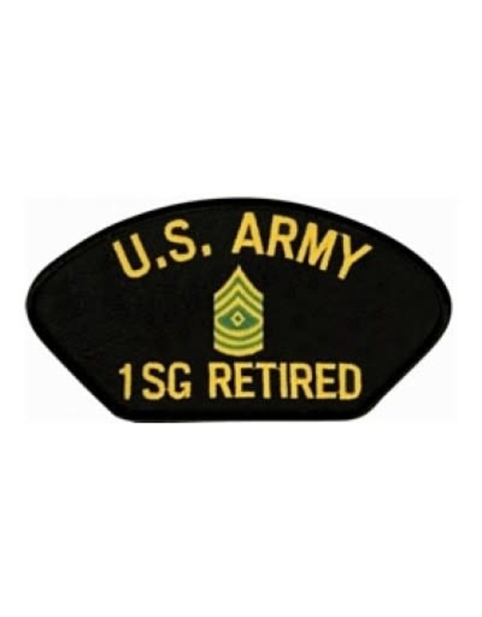 """MidMil Embroidered U.S. Army 1SG Retired Patch with Emblem 5.2"""" wide x 2.7"""" high Black"""