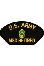 "MidMil Embroidered U.S. Army MSG Retired Patch with Emblem 5.2"" wide x 2.7"" high Black"