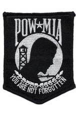 """MidMil Embroidered POW*MIA You Are Not Forgotten Patch 3"""" wide x 3.8"""" high Black"""