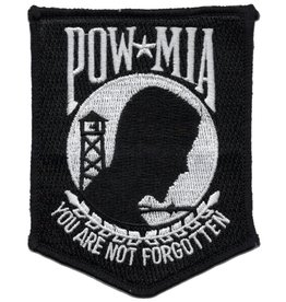 "MidMil Embroidered POW*MIA You Are Not Forgotten Patch 3"" wide x 3.8"" high Black"