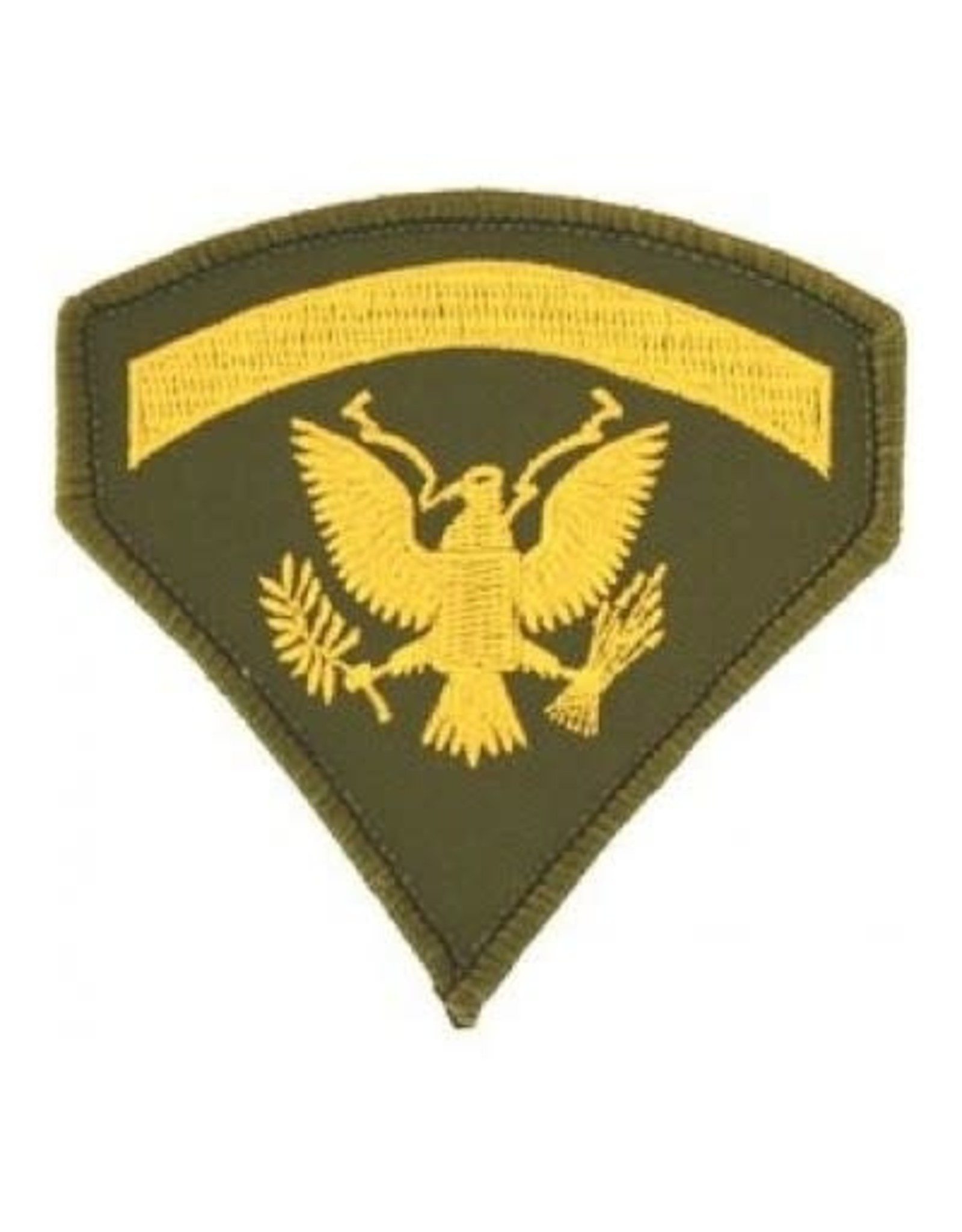 """MidMil Embroidered Army Spec 5 (E-5) Rank Patch 3"""" wide x 3.1"""" high Gold on Olive Drab"""