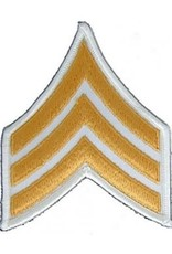 """MidMil Embroidered Army Sergeant (E-5) Rank Patch 3.1"""" wide x 3.8"""" high Gold on White"""