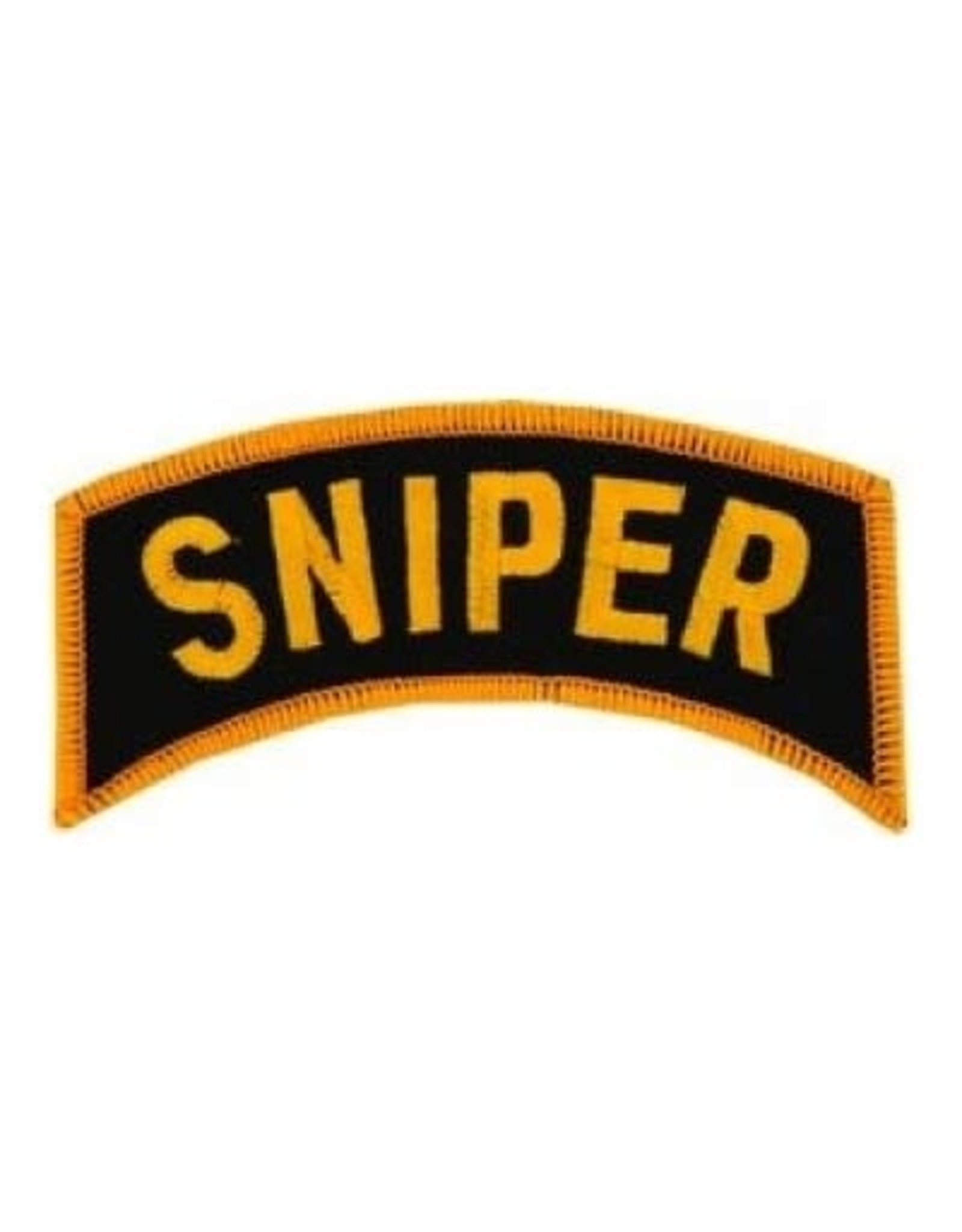 """MidMil Embroidered Sniper Tab Patch 4"""" wide x 1.7"""" high Gold on Black"""