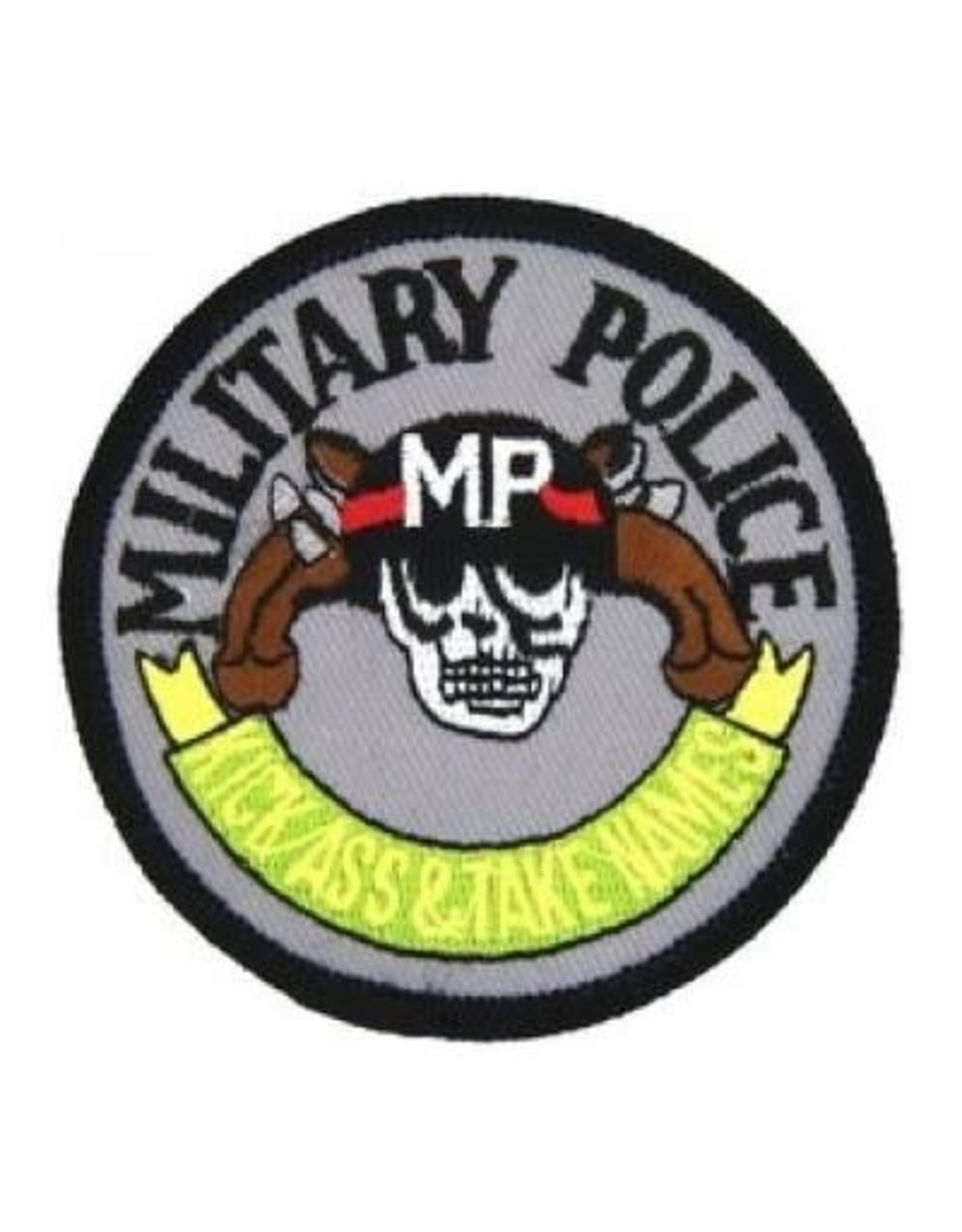 "MidMil Embroidered Military Police Patch with Emblem and Motto ""Kick Ass & Take Names"" 3.2"""