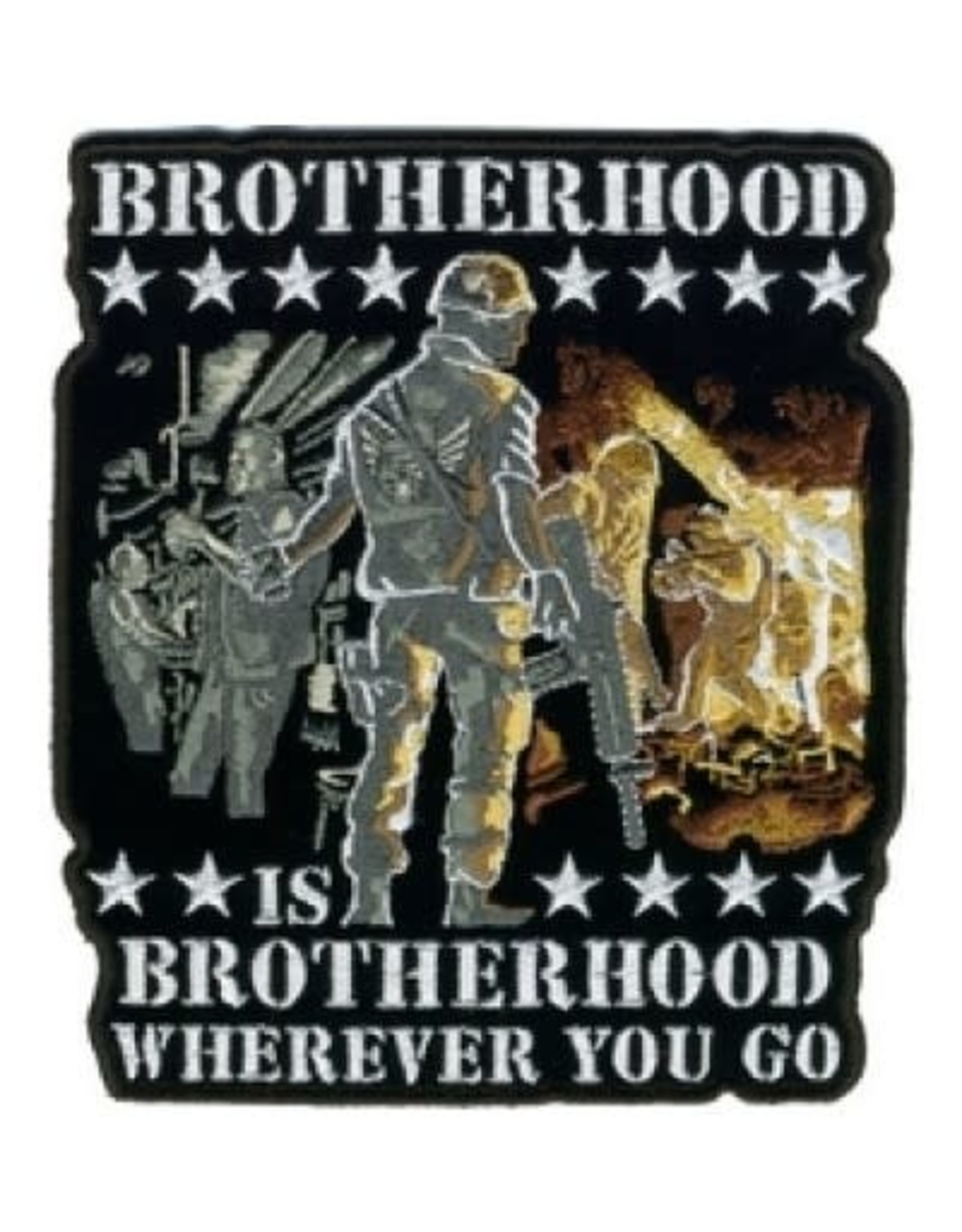 "MidMil Embroidered Brotherhood is Brotherhood Wherever you go Patch 10"" wide x 11.2"" high"