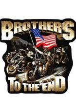 """MidMil Embroidered Brothers to the End Motorcycle Patch 9.5"""" wide x 11.2"""" tall"""
