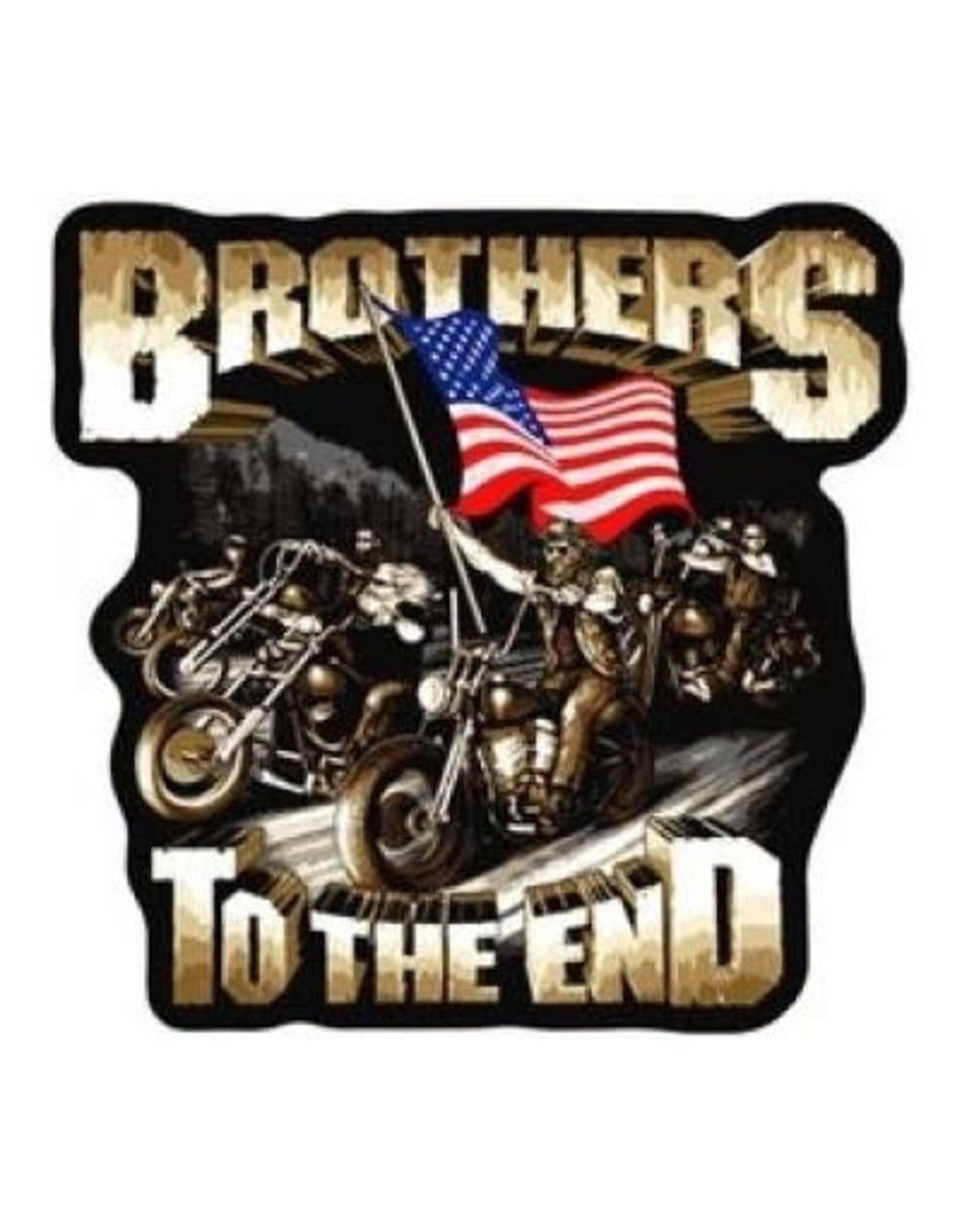 """MidMil Embroidered Brothers to the End Motorcycle Patch 5"""" wide x 4.9"""" tall"""