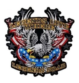 "MidMil Embroidered ""Legends Live Where Legends Soar"" Eagle and Flag Patch 10.6"" wide x 10.7"" high"
