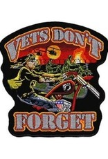 """MidMil Embroidered Vets Don't Forget Biker Patch 4"""" wide x 4"""" high"""
