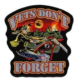 "MidMil Embroidered Vets Don't Forget Biker Patch 4"" wide x 4"" high"