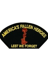 "MidMil Embroidered America's Fallen Heroes - Lest We Forget patch with Soldiers Cross Emblem 5.2"" wide x 2.7"" high Black"