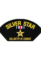 "MidMil Embroidered Silver Star - Gallantry in CombatPatch with Emblem 5.2"" wide x 2.7"" high Black"