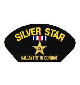 """MidMil Embroidered Silver Star - Gallantry in CombatPatch with Emblem 5.2"""" wide x 2.7"""" high Black"""