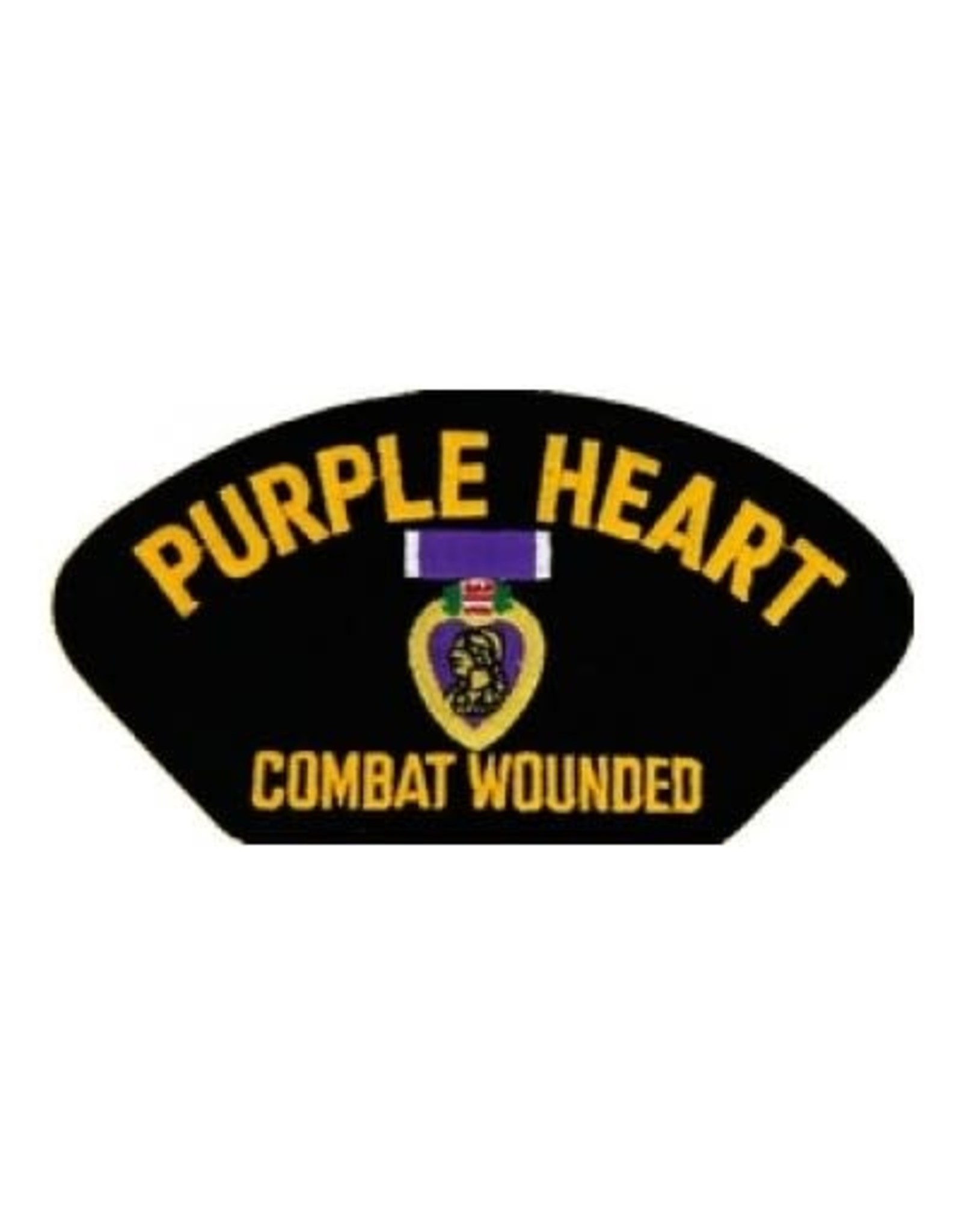 """MidMil Embroidered Purple Heart - Combat Wounded Patch with Emblem 5.2"""" wide x 2.7"""" high Black"""