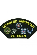 """MidMil Embroidered Disabled American Veteran Patch with all Branch Emblems 5.2"""" wide x 2.7"""" high Black"""