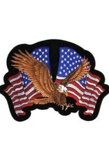 "MidMil Embroidered Eagle Striking Patch with two American Flags 4.4"" wide x 3.4"" high"