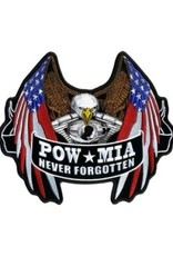 "MidMil Embroidered POW*MIA Eaglehead Engine American Flag Wings Eagle Patch 10"" wide x 8.5"" high"