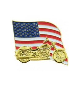 "MidMil American Flag Motorcycle Pin 1 1/4"" wide x 1"" high"