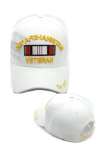 MidMil OEF Afghanistan Veteran Hat with Shadow and Ribbon White