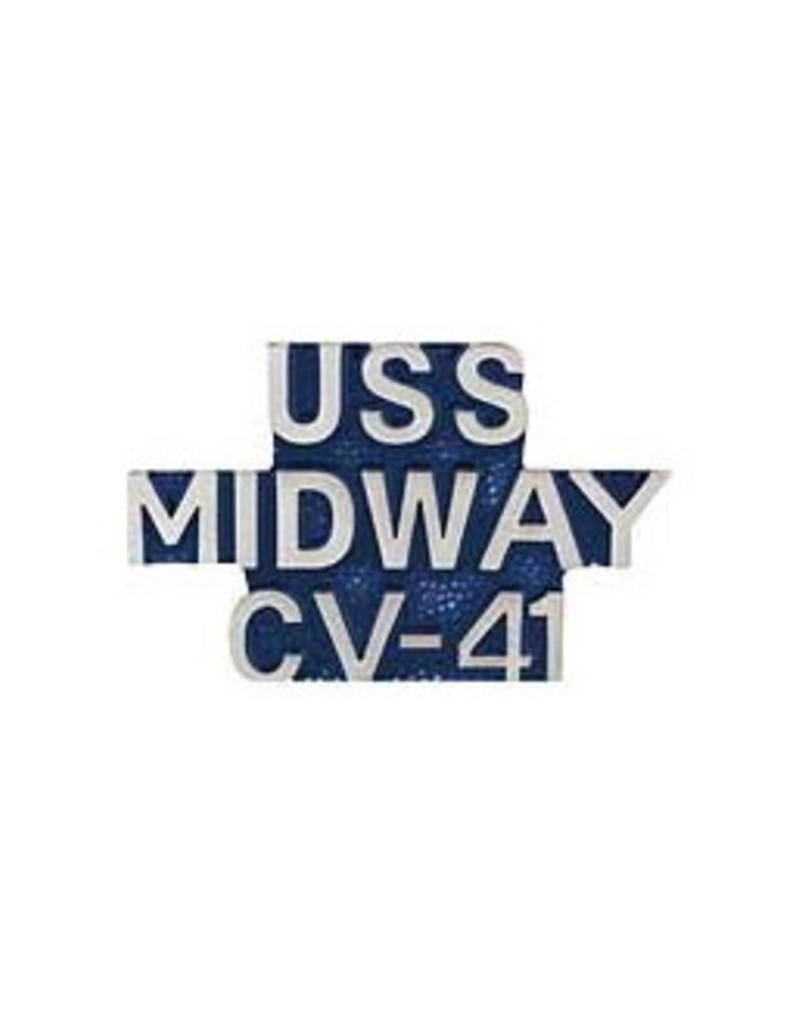 "MidMil USS Midway CV-41 Text Pin 1 1/8"""
