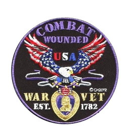 MidMil Combat Wounded War Vet Patch with Purple Heart and Red White and Blue Eagle 4""