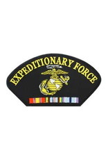 """MidMil Expeditionary Force Patch with Marine Corps Emblem and Ribbons 5.2"""" wide x 2.7"""" high Black"""
