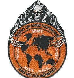 "MidMil Agent Orange Exposure Has No Boundaries Patch with Death figure holding World 4"" wide x 5.4"" high"