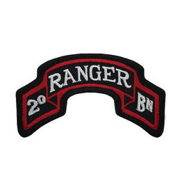 "MidMil Army 2nd Battalion Ranger Scroll Patch 3.3"" wide x 1.7"" high Black"