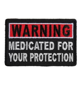 """MidMil Embroidered Warning Medicated for your Protection Patch 3"""" wide x 1.5"""" high"""