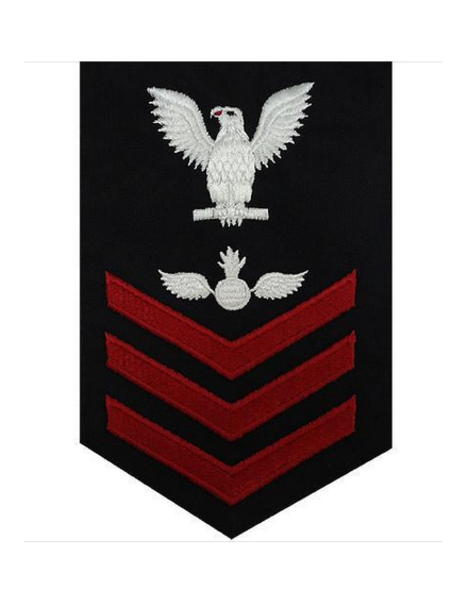 """MidMil Embroidered Navy Aviation Ordnance AO Rating Mens Petty Officer Rank Patch 4"""" wide x 6"""" high Dark Blue"""