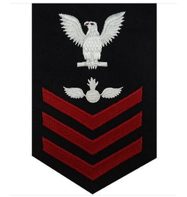 "MidMil Embroidered Navy Aviation Ordnance AO Rating Mens Petty Officer Rank Patch 4"" wide x 6"" high Dark Blue"