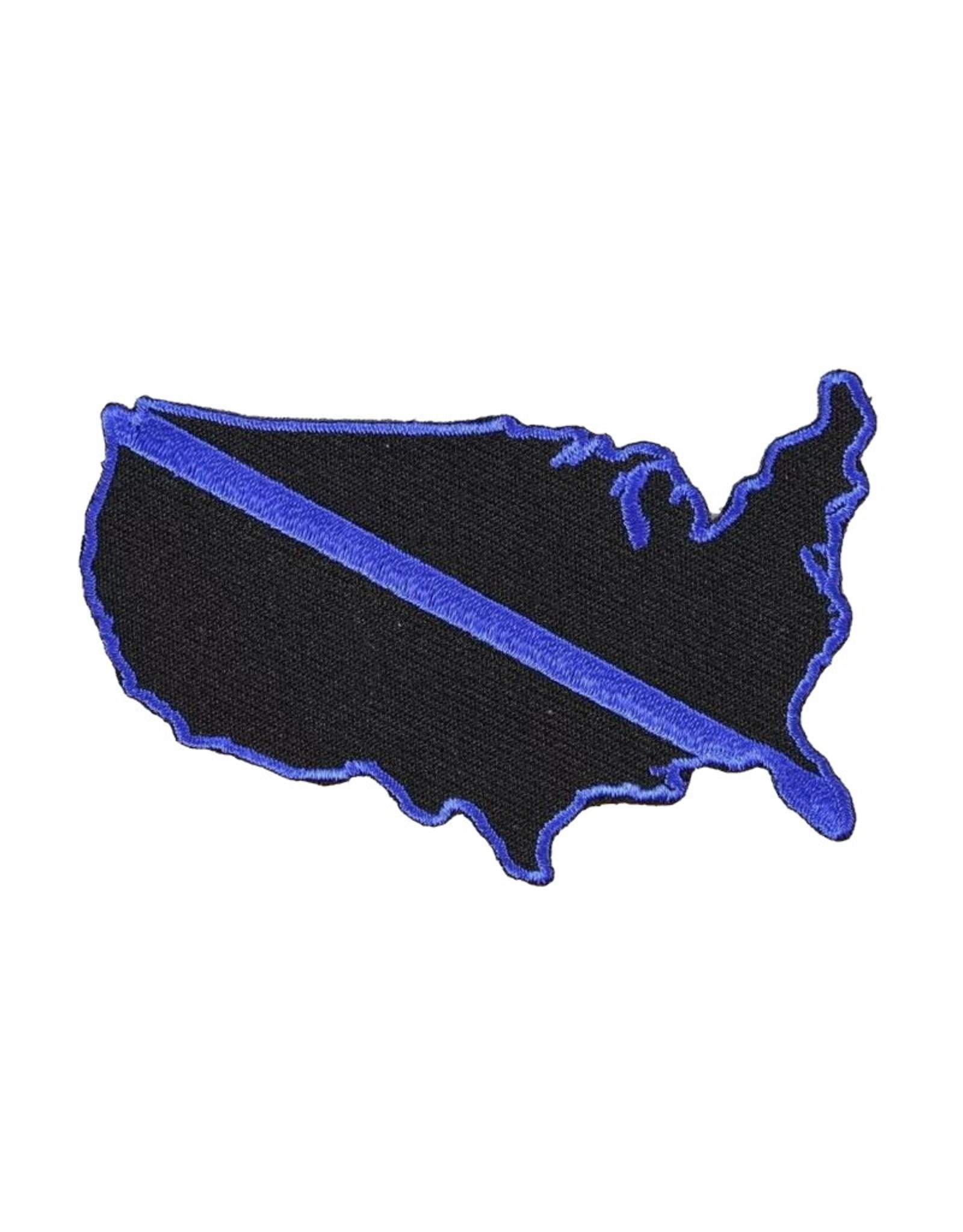 "MidMil Embroidered Thin Blue Line America Patch 3"" wide x 2"" high"