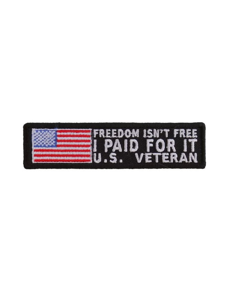 """MidMil Embroidered Freedom Isn't Free - IPaid For It U.S. Veteran Patch 4"""" wide x 1"""" high Black"""