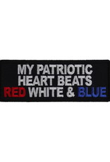 """MidMil Embroidered My Patriotic Heart Beats Red, White & Blue Patch 4"""" wide x 1.5"""" high Black"""