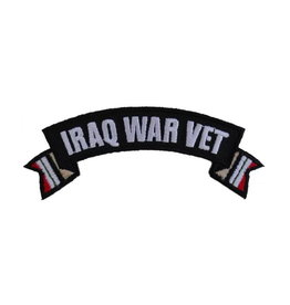 "MidMil Embroidered Iraq War Vet Tab Patch with Ribbon Tails 4"" wide x 1.5"" high"
