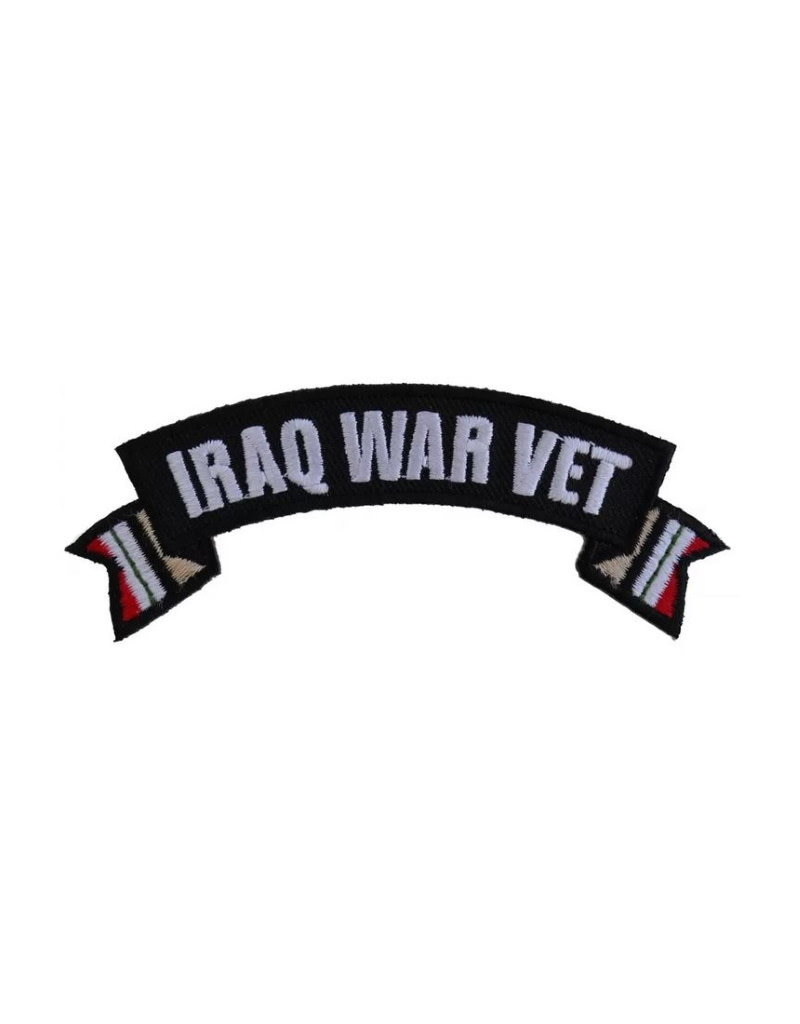 """MidMil Embroidered Iraq War Vet Tab Patch with Ribbon Tails 4"""" wide x 1.5"""" high"""