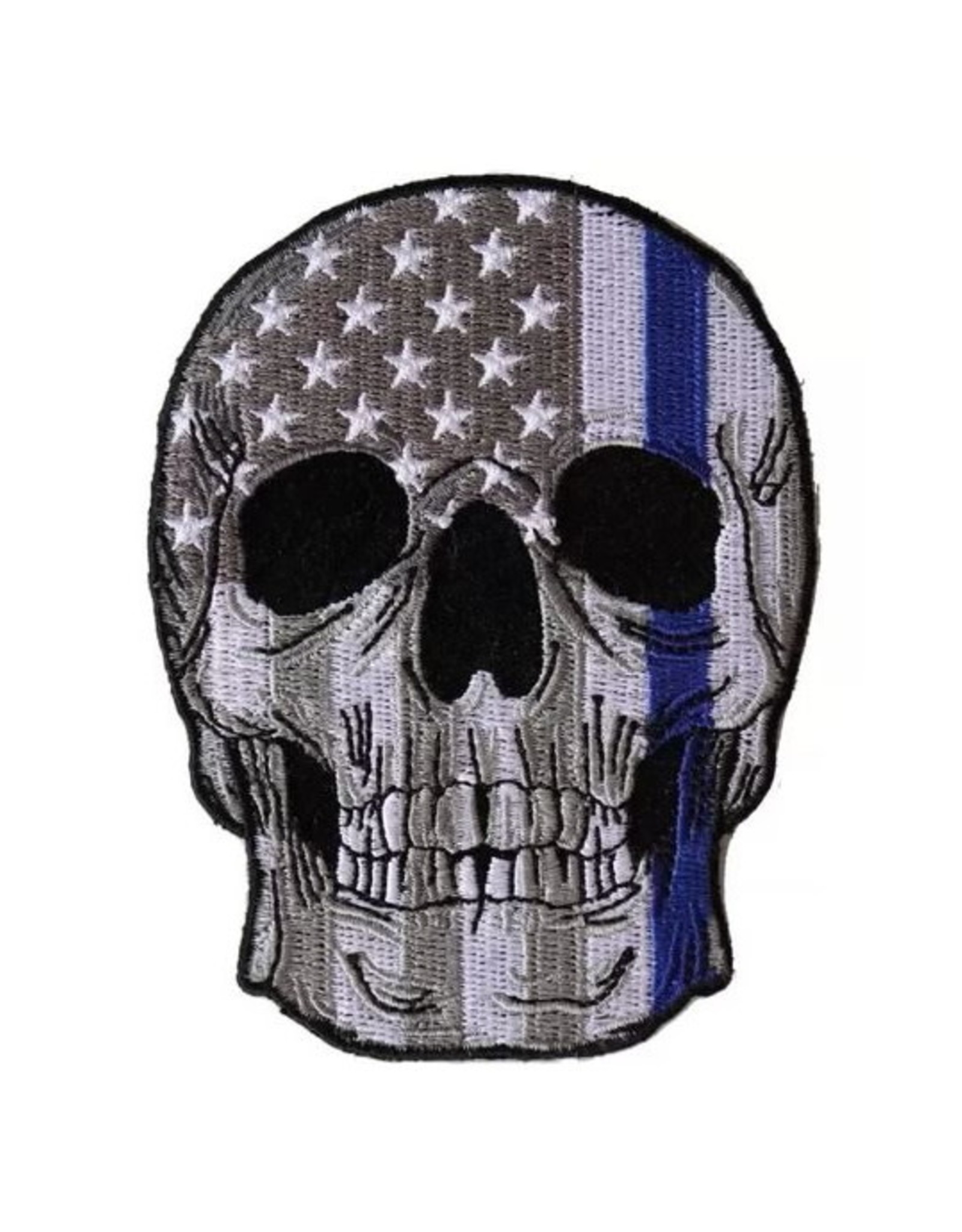 """MidMil Embroidered Thin Blue Line Skull Patch B&W American Flag over 3"""" wide x 4"""" high"""
