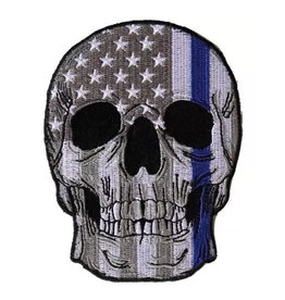 "MidMil Embroidered Thin Blue Line Skull Patch B&W American Flag over 3"" wide x 4"" high"