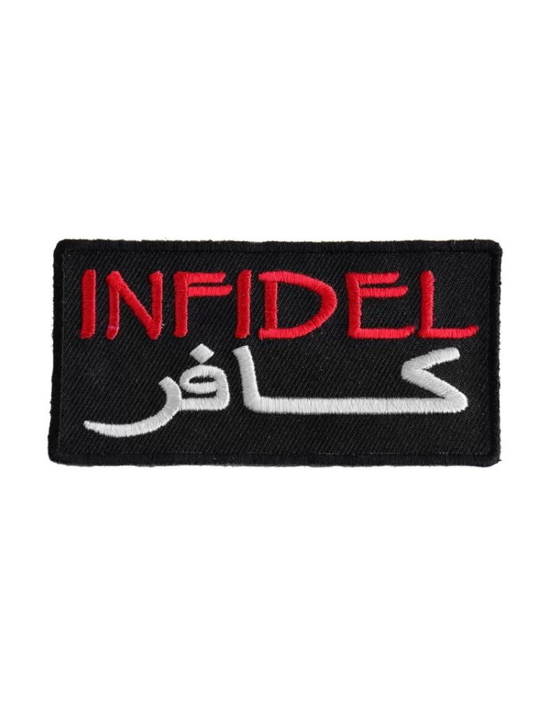 """MidMil Embroidered Infidel Patch (English and Arabic) 3.5"""" wide x 1.5"""" high Black"""