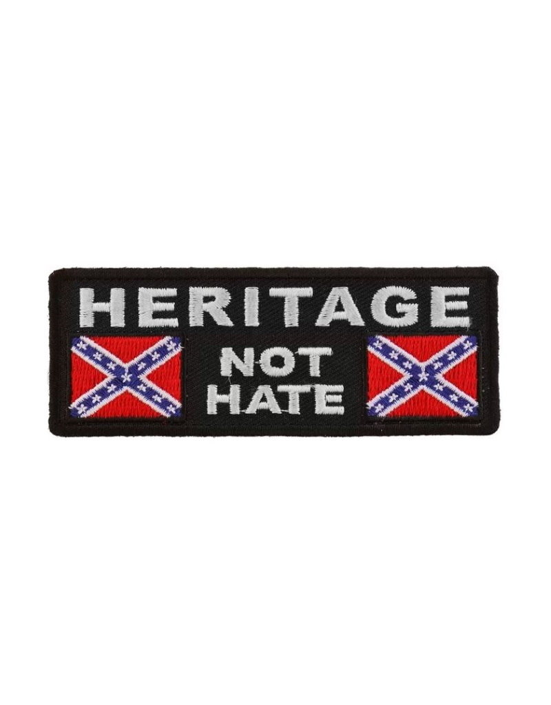 "MidMil Embroidered Heritage Not Hate Patch with Rebel Flags 4"" wide x 1.5"" high Black"