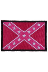 "MidMil Embroidered 2nd Rebel Flag Patch 3"" wide x 2"" high Pink"