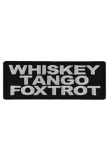 "MidMil Embroidered Whiskey Tango Foxtrot Patch 4' wide x 1.5"" high Black"