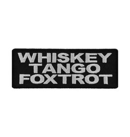 """MidMil Embroidered Whiskey Tango Foxtrot Patch 4' wide x 1.5"""" high Black"""