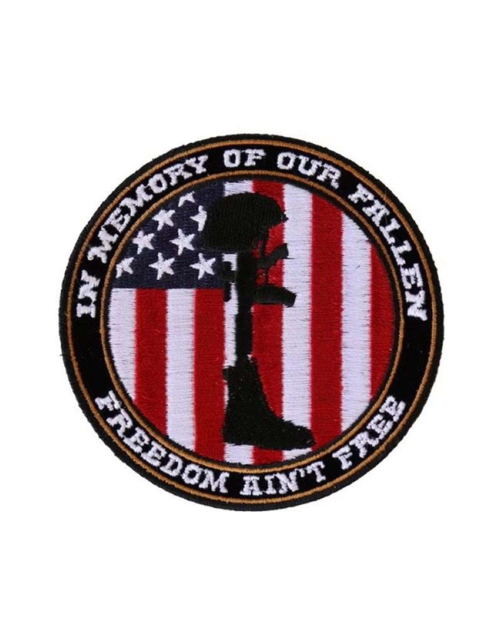 "MidMil Embroidered In Memory of Our Fallen - Freedom isn't Free Patch 3.5"" Black"