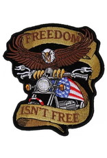 """MidMil Embroidered  Eagle over Motorcycle - Freedom isn't Free Patch 3.7"""" wide x 4.3"""" high"""
