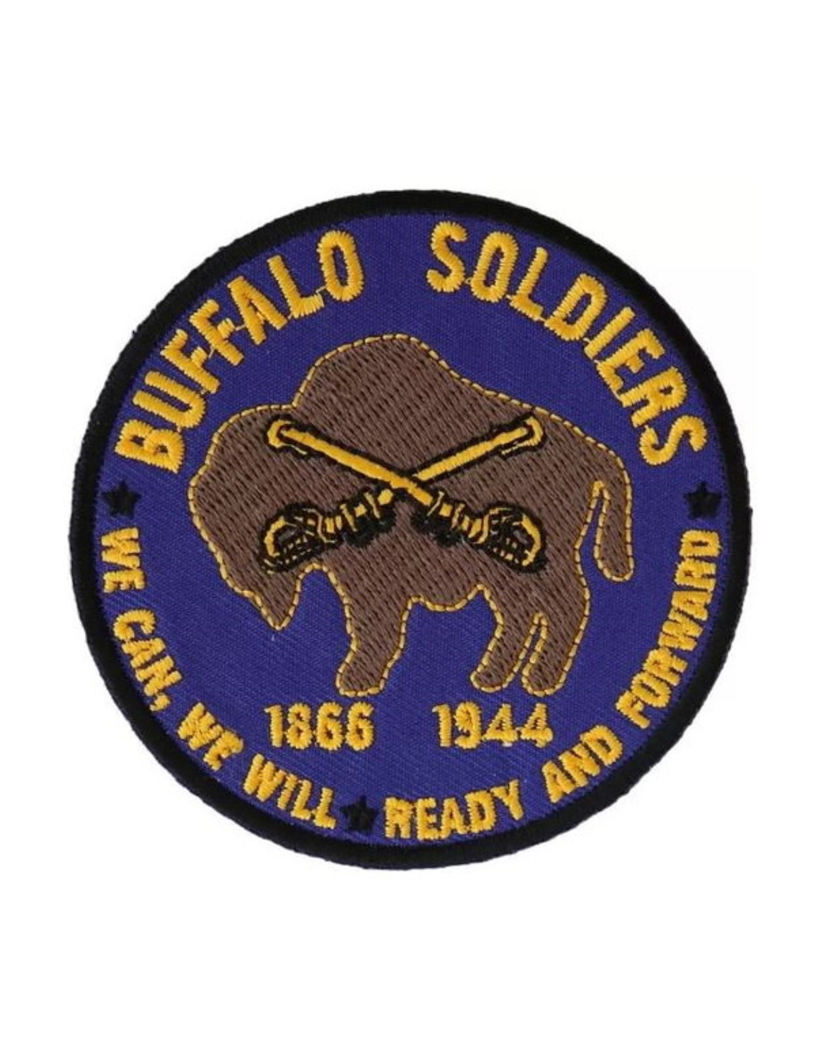 """MidMil Embroidered Buffalo Soldiers Patch with Emblem and Mottoes """"We can, We will"""" and """"Ready and Forward"""" 3"""""""
