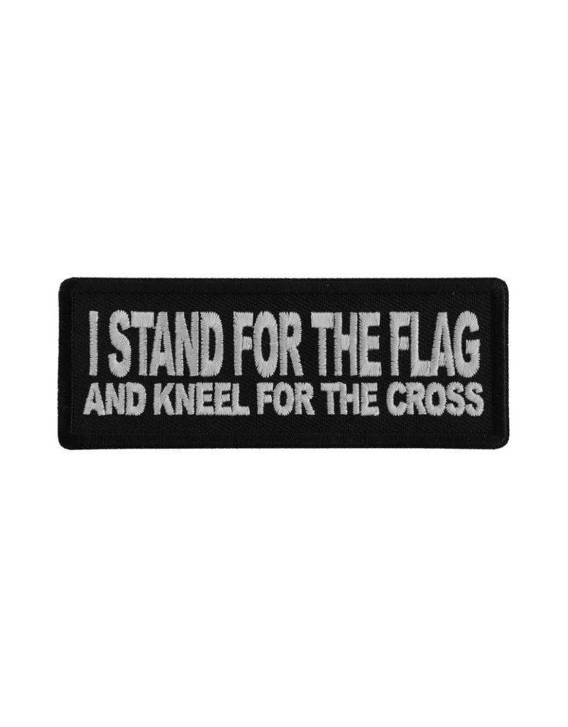 "MidMil Embroidered I stand for the flag and kneel for the cross Patch 4"" wide x 1.5"" high Black"