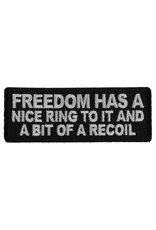 "MidMil Embroidered Freedom has a nice ring to it and a bit of a recoil Patch 4"" wide x 1.5"" high Black"