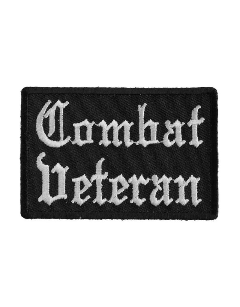 """MidMil Embroidered Combat Veteran Patch 3"""" wide x 2"""" high Black"""