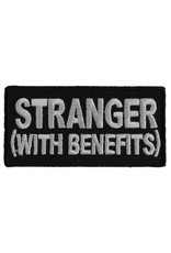 """MidMil Embroidered Stranger (with benefits) Patch 3"""" wide x 1.5"""" high Black"""